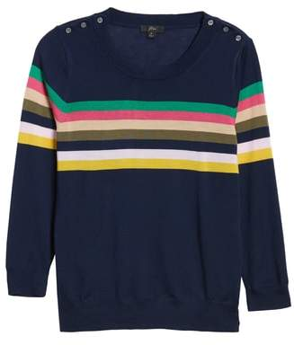J.Crew Tippi Sweater in Multistripe with Shoulder Buttons