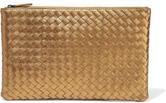 Bottega Veneta - Metallic Intrecciato Leather Pouch - Gold $690 thestylecure.com