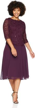 Alex Evenings Women's Plus Size Mock Dress with Lace Sleeves