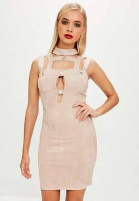 Missguided Beige Faux Suede Bodycon Button Dress