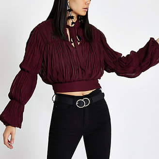 River Island Womens Dark red pleated puff sleeve crop top