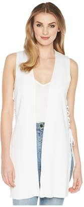 Kensie Cotton Blend Side Tie Vest KS5K5865 Women's Clothing