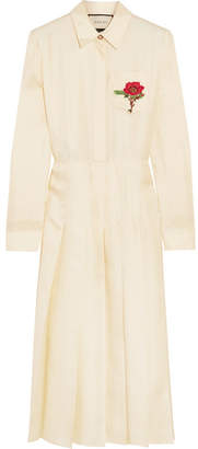 Gucci Embroidered Silk-twill Midi Dress - Cream