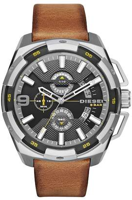 Diesel Men's Heavyweight Leather Strap Watch, 50mm