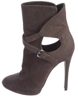 Brian Atwood Suede Cutout Ankle Boots