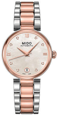 HBC MIDO Baroncelli Automatic Stainless Steel and Rose Goldtone Watch with 0.4 TCW Diamonds