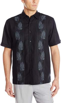 Cubavera Cuba Vera Men's Short Sleeve Tropical Embroidery Woven Shirt