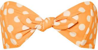 Lisa Marie Fernandez Poppy Knotted Polka-dot Stretch-crepe Bikini Top - Orange