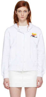 Courreges White Stripe Logo Snap Hoodie