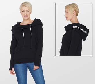 Peace Love World Cowl Neck Hoodie with Affirmation