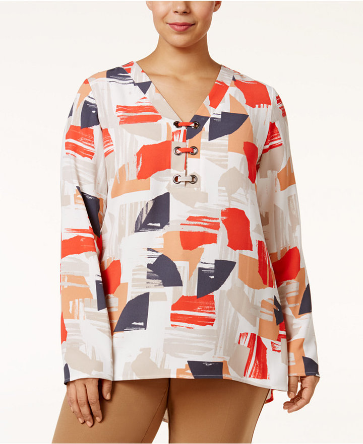 AlfaniAlfani Plus Size Printed High-Low Top, Only at Macy's