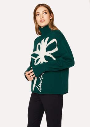 Paul Smith Women's Dark Green Lambswool 'Floral' Intarsia Funnel-Neck Sweater
