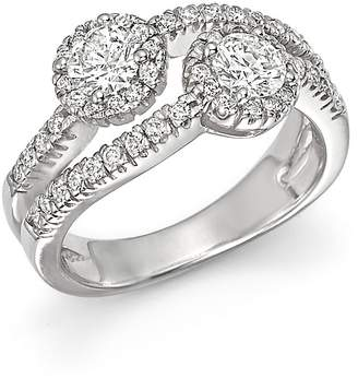 Bloomingdale's Diamond Halo Two Stone Ring in 14K White Gold, 1.15 ct. t.w. - 100% Exclusive