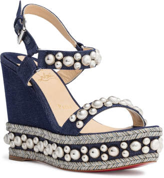 55e071fc3cc7 Christian Louboutin Rondaclou 120 Blue Denim Wedge Sandals