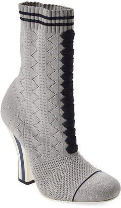 Fendi Silver & Marine Knit Ankle Booties