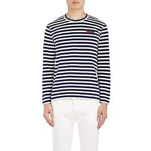 Comme des Garcons Men's Heart-Patch Striped Cotton T-Shirt - Navy