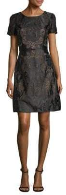 Marchesa Embroidered Lace Fit-and-Flare Dress