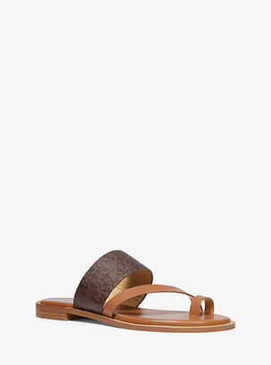 Michael Kors Pratt Logo And Leather Sandal