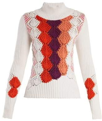 Peter Pilotto - Crochet Panel Ribbed Knit Cotton Blend Sweater - Womens - White Multi