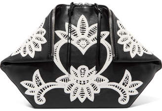 Alexander McQueen Butterfly Crocheted Lace-trimmed Leather Pouch - Black