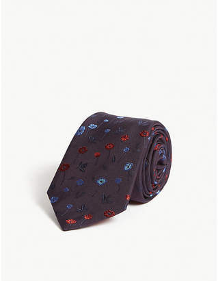 Paul Smith Embroidered floral silk tie