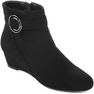 East Fifth east 5th Womens Genova Booties Wedge Heel Zip