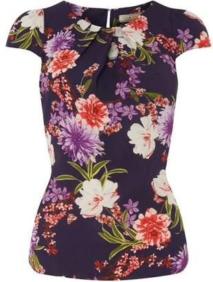 Dorothy Perkins Womens **Billie & Blossom Navy Floral Print Crepe Shell Top