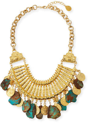 Devon Leigh Turquoise Slab & Gold Coin Bib Necklace