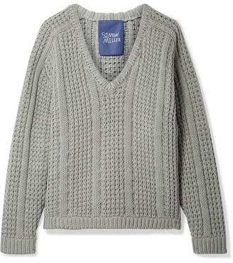 Simon Miller Pando Cable-knit Cotton Sweater - Gray green