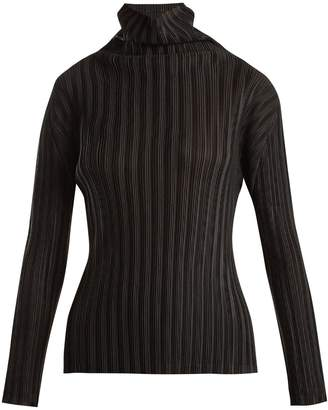Pleated high-neck top