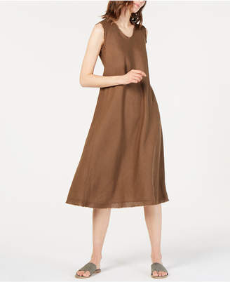 a28c3815fa597d Eileen Fisher Organic Linen Unfinished-Edge Dress