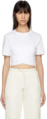 Alexander Wang White High Twist Draped Cropped T-Shirt