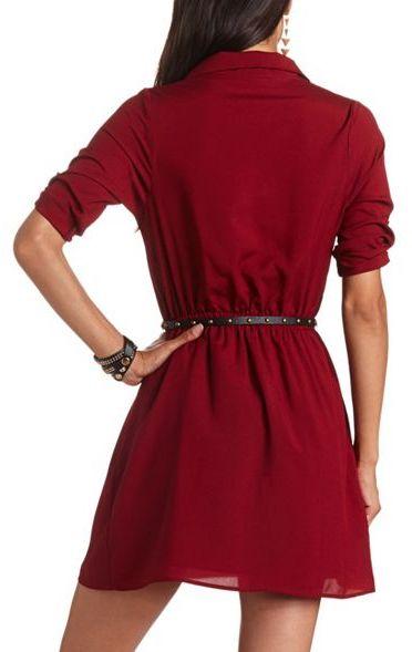 Charlotte Russe Belted Woven Shirt Dress