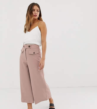 New Look crop culotte pants with button detail in mid pink