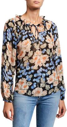 Rebecca Taylor Long-Sleeve Blush Rose Printed Top