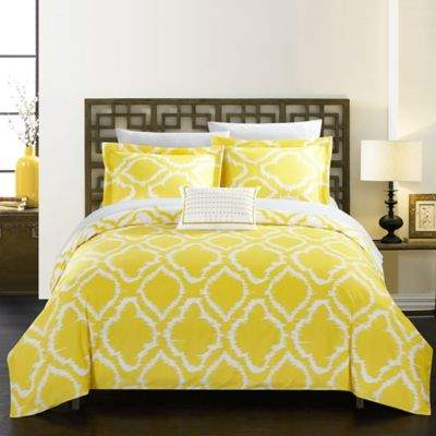Chic Home Sasha Reversible Queen Duvet Cover Set in Yellow