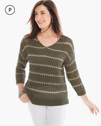 Chico's Petite Shine Striped Charlotte Pullover