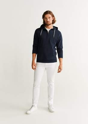 MANGO MAN - Zipper kangaroo sweatshirt dark navy - XS - Men