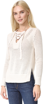 Derek Lam 10 Crosby Lace Up V Neck Sweater $395 thestylecure.com