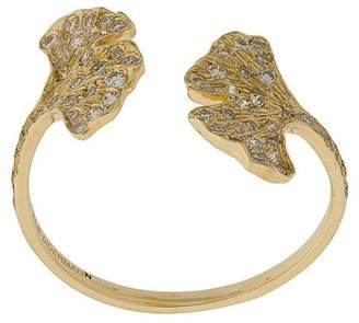 Aurelie Bidermann 18kt yellow gold Ginkgo diamond open ring