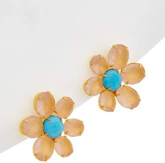 Bounkit 14K Plated Rose Quartz Flower Earrings