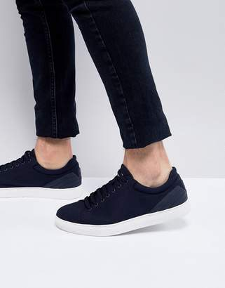 Emporio Armani Canvas Sneakers In Navy