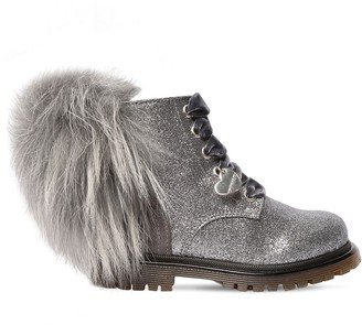 MonnaLisa Glittered Faux Leather Combat Boots