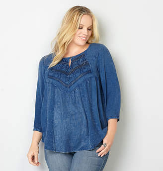 Avenue Embroidered Babydoll Blouse