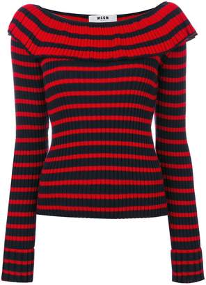 MSGM frilled neck knitted blouse