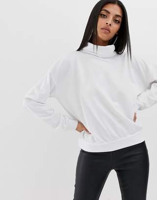 PrettyLittleThing roll neck sweatshirt in white