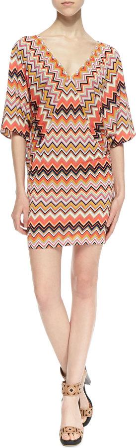 Trina Turk Trina by Patterson Three-Quarter Sleeve Zigzag Pattern Dress