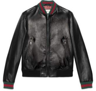 Gucci Leather jacket with Web