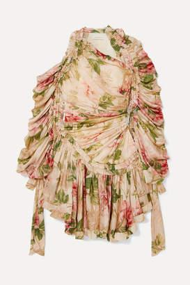 Zimmermann Espionage Drawn Ruched Asymmetric Floral-print Silk-chiffon Dress - Neutral