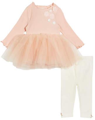 Miniclasix Rosette Tulle-Skirt Top w/ Knit Leggings, Size 3-24 Months